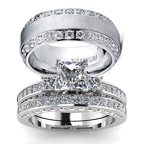 wedding ring set Two Rings His Hers Couples Matching Rings Women's 2pc White Gold Filled Square CZ Wedding Engagement Ring Bridal Sets & Men's Titanium Wedding Band (Wedding Rings His And Hers Matching Sets)