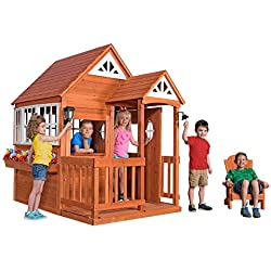 Backyard Discovery Deluxe Cedar Mansion Wooden Playhouse, Brown