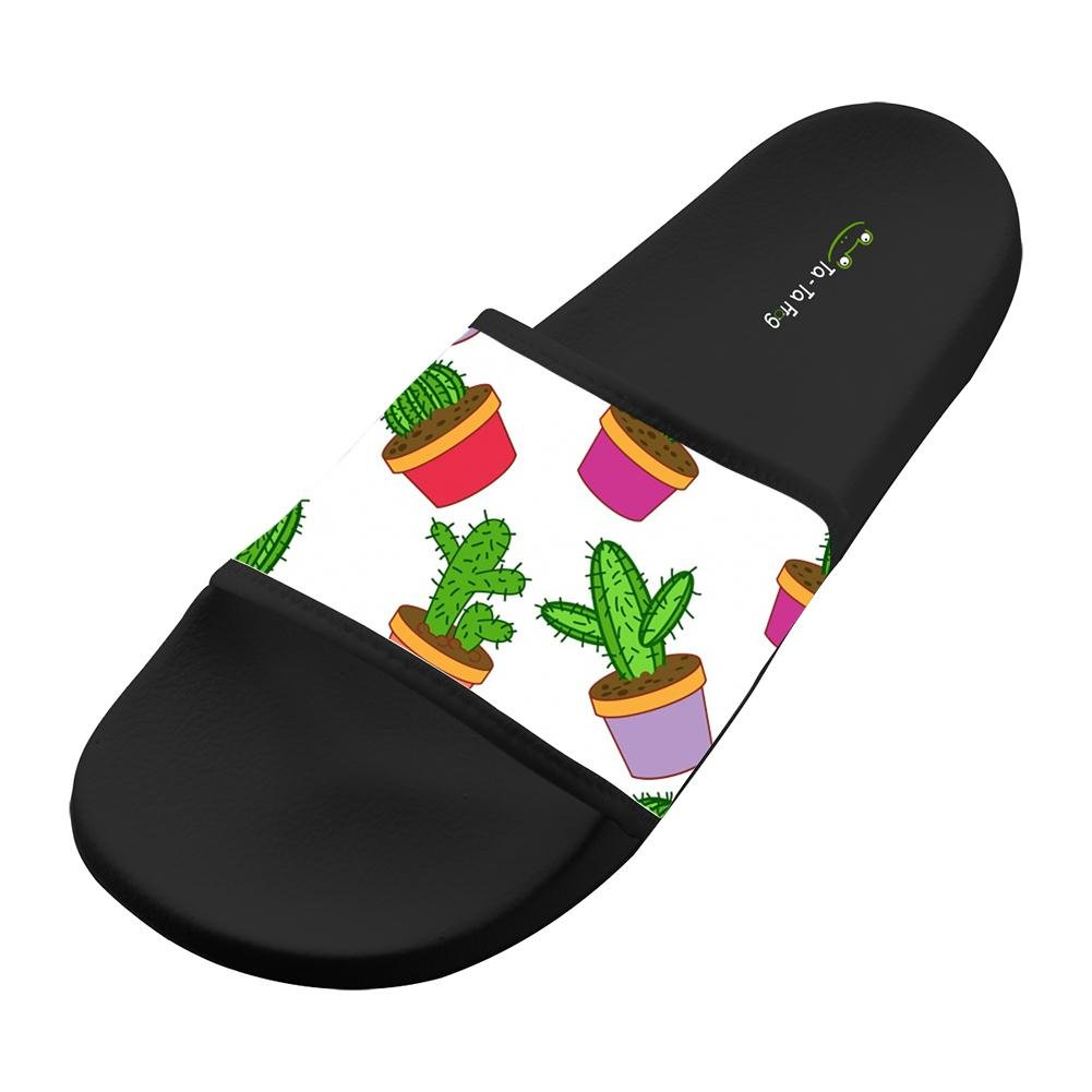 KOUY Summer Unisex Funny Cactus Pot Home Slippers Bath//Beach Non Slip Slide Sandals