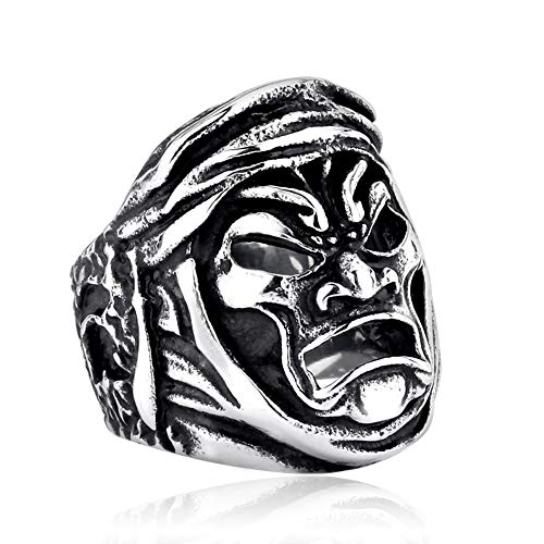 ZMY Mens Jewelry Stainless Steel Ring, Sparta Warrior Mask Gothic Rings for Men (11) ()