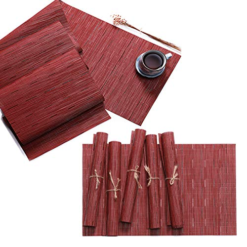 Pauwer PVC Placemats and Table Runner Set for Kitchen Table, Woven Vinyl Placemats Set of 6 and Matching Table Runner Heat Resistant Washable Easy to Clean (6pcs Placemats+Table Runner, Red)