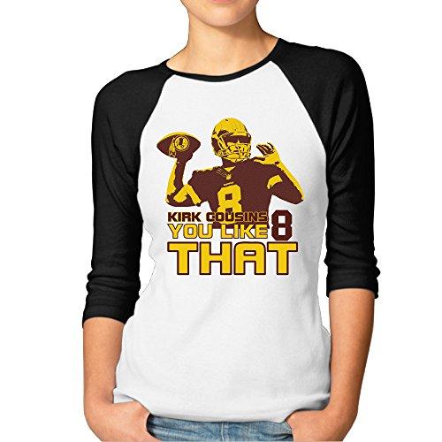 ElishaJ Women's Raglan Tee Baseball Shirt Washington #8 You Like That Black Size S