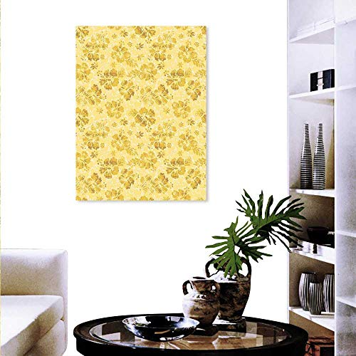 Gold Hawaiian Helmet - Anyangeight Hawaiian The Picture Home Decoration Golden Hibiscus Flowers Pattern Grunge Tropical Beach Theme in Hawaii Nature Picture Wall Stickers 24