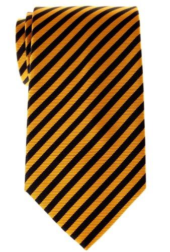 - Retreez Stripe Woven Men's Tie - Yellow and Black Stripe
