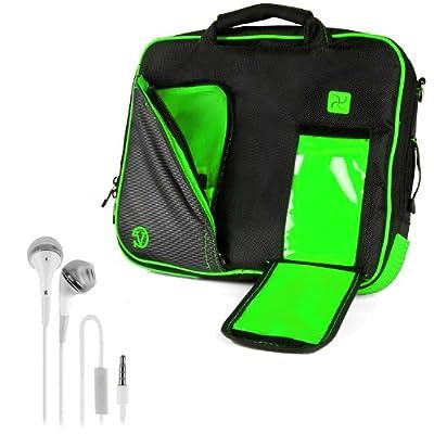 VanGoddy Pindar Sling - BLACK LIME FOREST GREEN Pro Deluxe Shoulder Messenger Carrying Bag for Lenovo Yoga 2 13' inch Windows Laptop + White Hands-free Earphones Headphones w/ Microphone