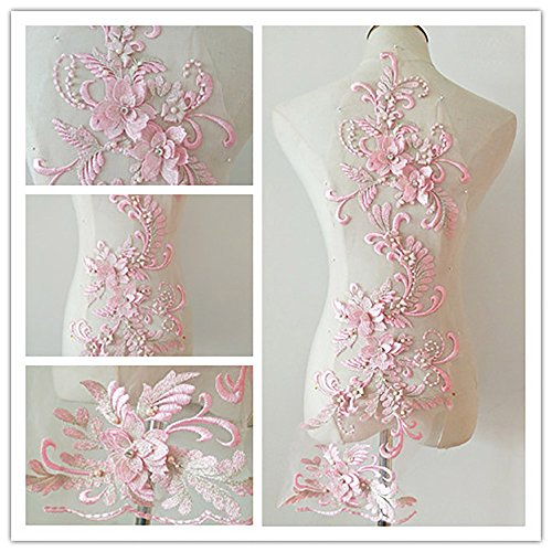 3D beaded flower sequence lace applique motif sewing bridal wedding 3in1 20cmx72cm (Light Pink)