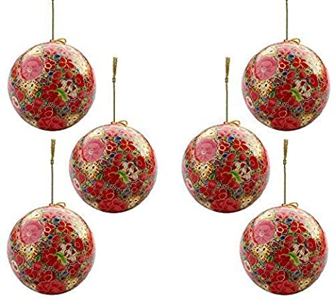 Set of 6 Paper Mache Indian Wooden Christmas Decorations Baubles Set Balls Tree Ornaments Hangers - Xmas Gifts for Her (Indian Gold Ornaments)