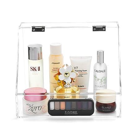BSEL Maquillaje Caja Cosméticos,Hisopo De Algodón Acrílico Transparente Multifuncional BOLA DE ALGODÓN Contenedor De