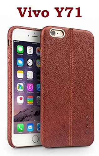 more photos f97ce 8052e ikazen Vorson Double Stitched Leather Shelled Back Cover for ViVo Y71  (Brown)