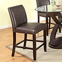 Roundhill Furniture Cicicol Padded Back Counter Height Stools, Espresso, Set of 2