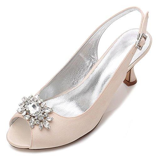 L@YC Zapatos De Boda De Las Mujeres E17061-58 Rhinestone Con El Vestido De Las SeñOras Zapatos Del Tribunal Del SatéN De La Hebilla Champagne