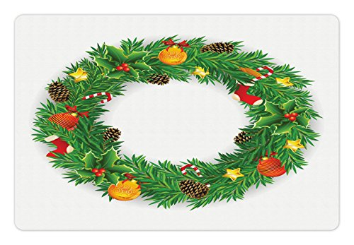 Ambesonne Christmas Pet Mat for Food and Water, Festive Wreath Evergreen with Candy Cane Stockings Mistletoe Berries on Door, Rectangle Non-Slip Rubber Mat for Dogs and Cats, Green White (Stocking Evergreen)
