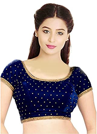 e4fe64ca4586e SINGAAR Readymade Blouse for Women-BLUE-Long Sleeves-Round  Neck-Velvet-Stitched-Saree Blouse-Designer  Amazon.in  Clothing    Accessories