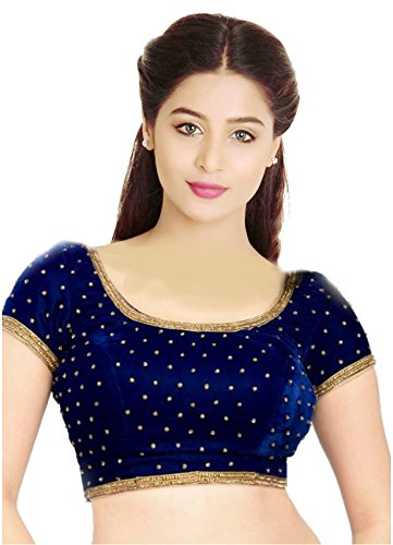 08ad0f5ade9ab SINGAAR Readymade Blouse for Women-BLUE-Long Sleeves-Round Neck -Velvet-Stitched-Saree Blouse-Designer  Amazon.in  Clothing   Accessories