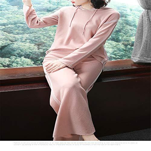 Glamour Decorativo Shirloy Abito Girocollo Lunga Grande Sottile Pizzo Maglione Perline Rosa Con Vita Manica Rosa PC1Cq