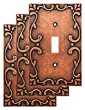 Franklin Brass W35070V-CPS-C Classic Lace Single Switch Wall Plate/Switch Plate/Cover (3 Pack), Sponged Copper