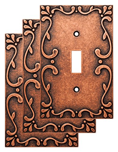 - Franklin Brass W35070V-CPS-C Classic Lace Single Switch Wall Plate/Switch Plate/Cover (3 Pack), Sponged Copper