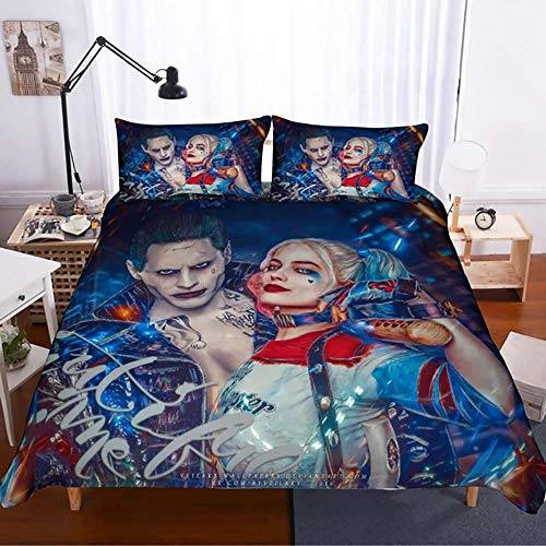 Duvet Cover Set 100% Microfiber 3D Suicide Squad Joker with Harley Quinn Pattern 3 Piece Bedding Set (1 Duvet Cover 2 Pillowcases),A,King