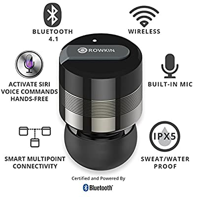 Rowkin Bit Charge Single: Wireless Earbud with Portable Charger. Bluetooth Headphone, Smallest Cordless Hands-free Mini Earphone Headset w/ Mic & Noise Reduction for Running and iPhone.