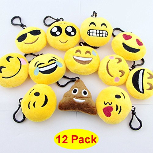 Toy Key-chain 2 Inch Mini Emoji Plush, Set of 12