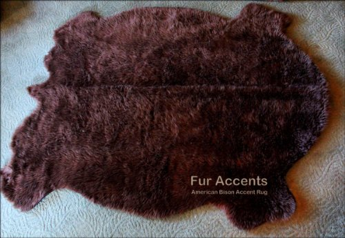 - Fur Accents Premium Faux Fur Traditional Buffalo Pelt Rug / Indian Style Area Rugs / Brown Buffalo Hide / Faux Fur / 60