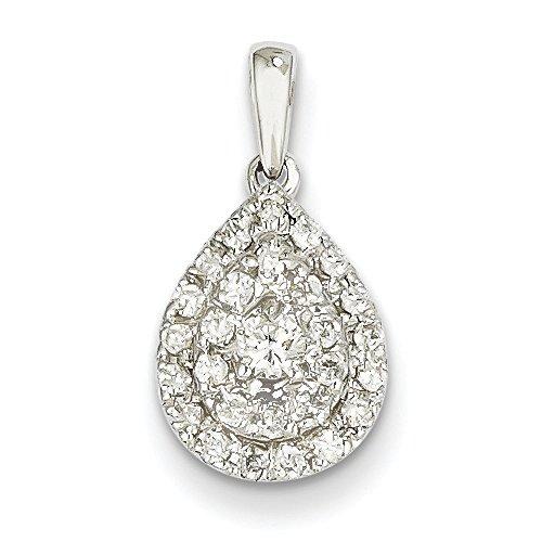 Or blanc 14 carats-Diamant JewelryWeb pendentif en forme de goutte