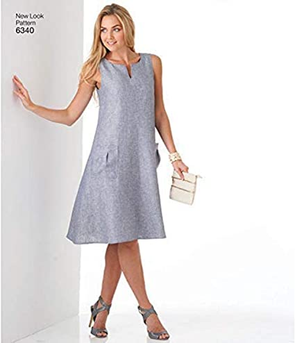 New Look Misses/' Easy Dresses Trapeze Shaped Dress Sewing Pattern 6340