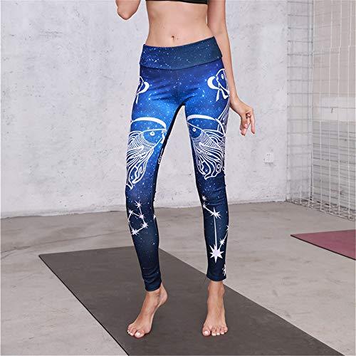 Serré Ads Haute Femmes Fitness Yoga xl Blue Collants Jogging Taille Force Pantalons Stretching Numérique Impression blue rnrwxqHd0z