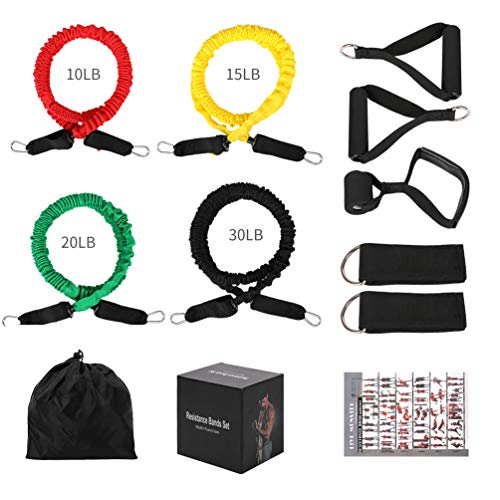 (SHENGMEI Resistance Bands Set with Nylon, 10Pcs Exercise Elastic Tubes Set, Latex Tension Tubes with Double Protection-Safety, Stackable Up to 75lb)