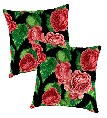 Set Of 2 Replacement Pillows For Outdoor Hanging Rope Hammock Swing (Sold Separately), Each 22'' Sq - Cabbage Rose