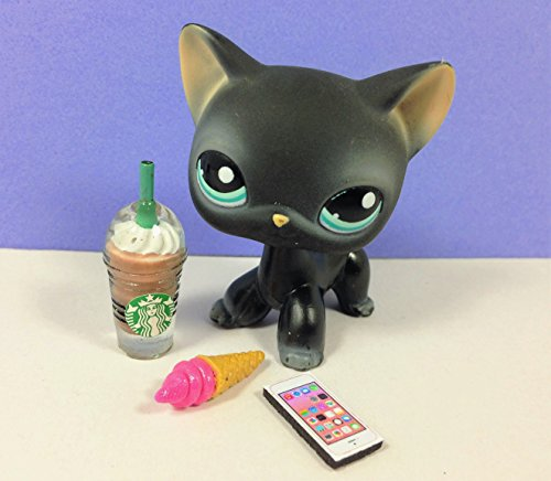 happyblockbuilder Littlest Pet Shop LPS LOT 3 Custom Accessories Starbucks Food Phone; Pet NOT Included -