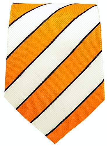 - College Striped Ties for Men - Woven Necktie - Orange w/White