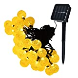 Lareinae Solar String Lights - Solar Lights Outdoor with 30 LED Warm White Waterproof Fairy Bubble Lamp, for Home, Patio, Lawn, Garden, Party, Wedding, Christmas, Dating, and Holiday Decorations