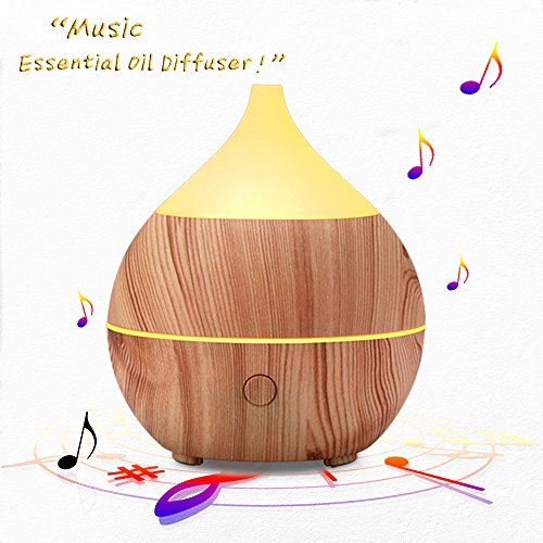 PriBuy Essential Oil Diffuser and Humidifier with Bluetooth Speaker, Cool Mist Ultrasonic Aromatherapy Diffuser for Office/Home/Bedroom/Baby Room, 7 Color LED Lights, 200 mL, Wood Grain