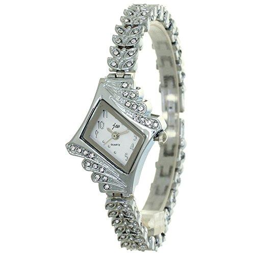 Women Crystal Watch Dress Clock Classic Silver Fashion Casual Jewelry Watch Prismatic Case Rhinestone Mounted Wheat Ears Bracelet Band Fashion Wristwatch