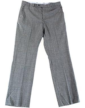 Dark Grey Textured Flat Front Wool Blend New Finished Men's Dress Pants 30WX30L