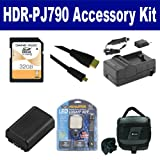 Sony HDR-PJ790 Camcorder Accessory Kit includes: SDNPFV50NEW Battery, SDM-109 Charger, SD32GB Memory Card, SDC-27 Case, HDMI6FMC AV & HDMI Cable, LED-70 On-Camera Lighting