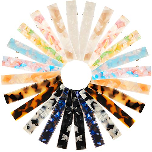 - 24 Pieces Acetic Acid Hair Clips Marble Print Hair Pins Rectangle Duckbill Hair Barrettes for Women Girls Wearing
