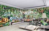 Vanilla Rain Forest Jungle Animals Non Woven Fabric As Poster/multipart Picture/Wallpaper/Mural for Kids Room/Bedroom/Living Room/Shop Multi Sizes Multi Colour (W7.5m*H2.8m)