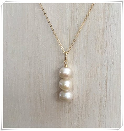 Cultured Pearl Necklace Drop Triple - no see long time Three Freshwater Three Pearl Drop Necklace, Gold Fill Chain Necklace, Cream White Genuine, Triple Cultured Pearl Pendant,Beaded Necklace