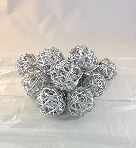 Decorative Twig Spheres (Silver ) Rattan Ball Vase Filler Bowl Filler (Decorative Rattan Balls)