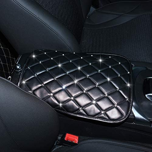 Uphily Bling Bling Diamond Center Console Cover Luster Crystal Rhinestone Arm Rest Pad Protective Case for Women Girls