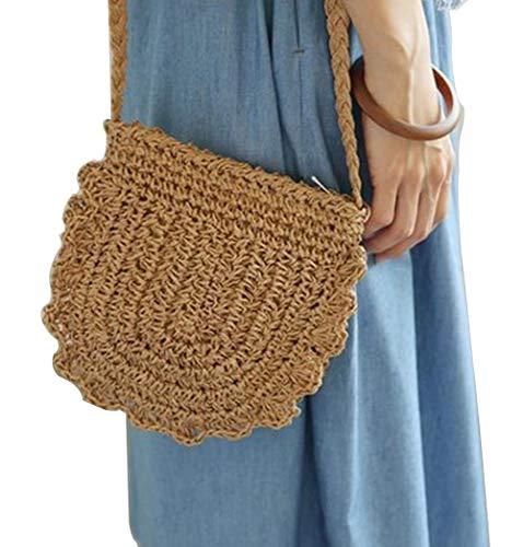 Women Hand Woven Rattan Bag Straw Woven Purse Crossbody HandBag With Shoulder Straps