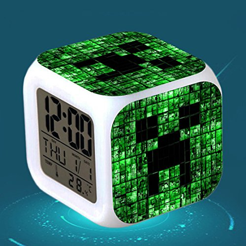 Creeper LED Light Up Alarm Clock for Kids with LED Face with Digital Time and for Easy Travel