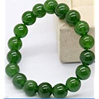 Jaywine2 Natural 10mm Dark Green Jade Round Gemstone Beads Stretchy Bangle Bracelet 7.5