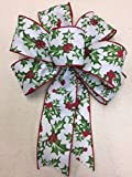 Wired Green and Red Holly Berry Bow Ribbon Handmade Christmas Bow 8''- 9'' in Diameter - Green and Red Hand Made Bow By Wreaths For Door
