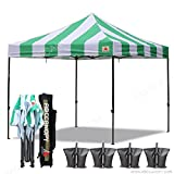 ABCCANOPY ¨5+colors Deluxe 10×10 Ez Pop Up Canopy Carnival Canopy Popcorn Cotton Candy Vending Tent (stripe green/white)