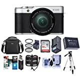 Fujifilm X-A10 Mirrorless Camera with XC 16-50mm f/3.5-5.6 OIS II , Silver - Bundle With 32GB SDHC Card, Camera Case, Spare Battery, Tripod, 58mm Filter Kit, Compact Charger, And More