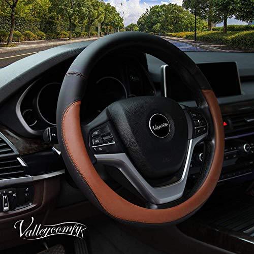 Valleycomfy Microfiber Leather Steering Wheel Covers Universal 15 inch (Brown) ()