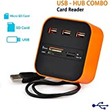 LLP All in One SD Card Reader, USB Combo Hub Reader with 3 Ports for Charging & Reading Flash Drive, Camera Memory Card Reader for MS/MS PRO Duo SD/MMC M2 Micro SD/TF Cards on Laptop(Orange)